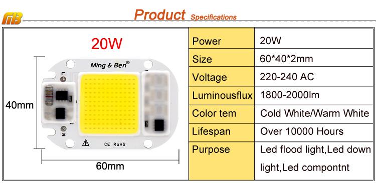[MingBen] LED COB Lamp Chip 5W W 30W 50W 2V Input Smart IC Driver Fit For DIY LED Floodlight Spotlight Cold White Warm White 5