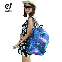 ECOSUSI 2016  japan style star backpack 5color women and men backpack ,school backpacks,travel bags galaxy backpack bolsas