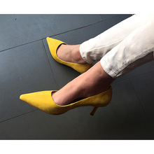 Top high quality 2017 new designer sexy pointed toe slip on suede women pumps high heels party shoes woman ladies zapatos mujer