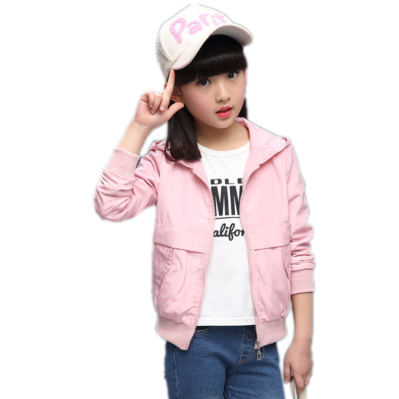 girl jackets and coats 2017 new fashion spring short style girls jackets solid hooded kids trench for girls 3 colors 5-11T <br>