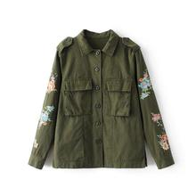 Army Green Embroidered flowers Women Jackets Button Pockets letters Floral Pattern Casual Coats Military Ladies Jackets s532