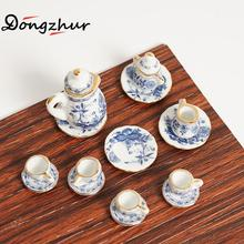 15pcs/set Baby Tea Sets Dollhouse Miniatures 1:12 Accessories Mini Blue And White Porcelain Tea Set Dolls House Furniture Parts(China)