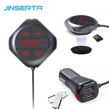 JINSERTA Car Bluetooth FM Transmitter Handsfree Car Kit MP3 Music Player Radio Voltage Monitor TF U Disk 2 USB Car Charger(China)