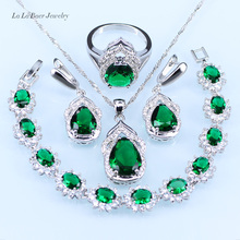 L&B Charm Four-Piece Jewelry Set For Women silver 925 Green created Emerald Bracelet Pendant Neckalace Earrings Ring