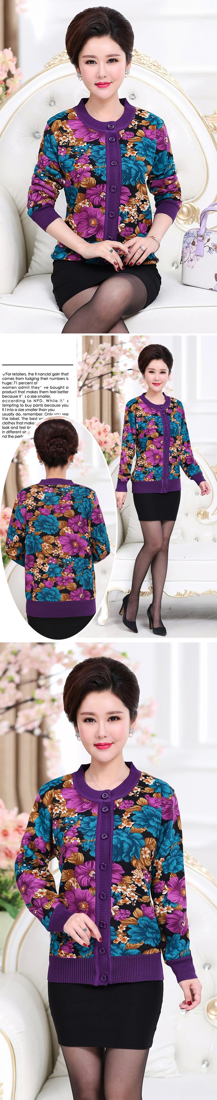 WAEOLSA Winter Woman Flower Cardigan Sweaters Middle Aged Women\`s Thicken Fleece Knitwear Lady Knied Cardigan Sweater Warm Top Mother (8)