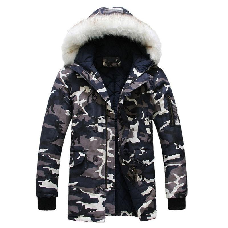 New Winter Camouflage Men Warm Jacket Parka Brand Clothing Mens Fashion Jackets Casual Fur Collar Coat Men US Size S-3XLÎäåæäà è àêñåññóàðû<br><br>