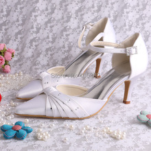 Magic Bride Wholesale Mid-heels Ankle-Wrap White Satin Bridal Shoes Manufacture