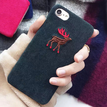 2017 new 3D Plush corduroy fabric pc hard simple animal Elk wolf penguin case for iphone 6 6s 6 s 7 plus phone cases cover