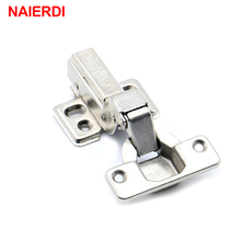 NAIERDI 40MM Cup Furniture Hinge Rustless Iron Hydraulic Hinges For Damper Buffer Cabinet Cupboard Door Soft Close Hardware(China)