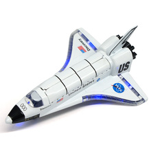 Alloy Diecast Model Plane Kids Toy Columbia Space Shuttle Model Pull Back Action with Light & Sound Toys for Children Christmas