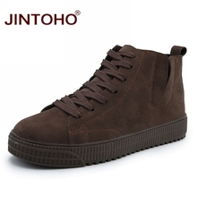 JINTOHO Winter Men Shoes 패션 Brown 가죽 Boots 대 한 Men Casual 눈 Boots 싼 Men 겨울 Boots 캐주얼 가죽 Shoes(China)