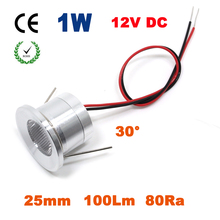 12PCS 1W 100Lm 25mm 12V Led Downlight With 0-10V PWM Dimmable Driver CE RoHS Cabinet and Stair Light(China)