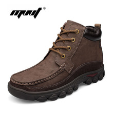 Handmade men boots genuine leather snow boots comfortable super warm winter shoes plus fur large size waterproof ankle boots