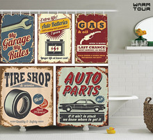 WARM TOUR Vintage Car Metal Advertising Vehicle Garage Image, Polyester Fabric Bathroom Shower Curtain Set with Hooks