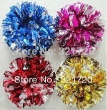 Cheerleader pompoms (10 pieces/lot) Cheerleading pompoms supplies PVC pompons Color and handle can choose Free shipping
