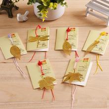 6PCS/LOT 6 Styles Lovely Cute Metal Bookmark  Mulberry leaves Dragonfly Golden Bookmark Book Holder for Book Paper Creative Gift