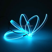 New Brand Illiminated 5Meters 2.3mm Sew Tag Sky Blue Flickering Neon Light EL Wire Rope Tube with DC-12V Converter for Party