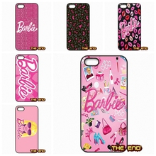 For iPhone 4 4S 5 5C SE 6 6S 7 Plus Galaxy J5 A5 A3 S5 S7 S6 Edge Kawaii Pink Barbie Wallpaper Bling Mobile Phone Case Cover