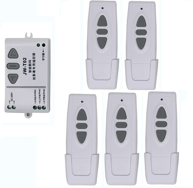 110V-250V wireless projection screen remote control switch projection curtain remote control switch @ 1x Receiver+5X Transmitter<br>