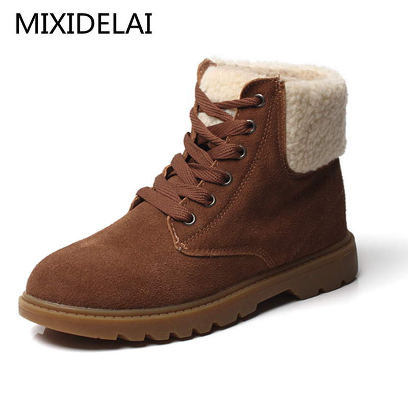 Winter Shoes Women Cow Suede Warm Snow Boots Round Toe Lace Up Casual Women Ankle Boots Hard Outsole Botas Mujer<br>
