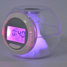 New LED Alarm Clock 7-Color Light With Nature Sound Timer Thermometer