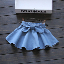 Girls Bow Denim skirt Mini pleated skirt Fashion Kids lovely tutu Cowboy Umbrella skirts Solid jeans clothes washed Pettiskirt