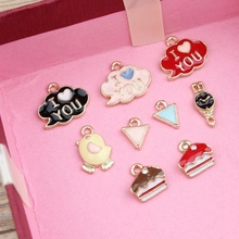 Newest 50PCS Jewelry Charms Gold Tone Enamel Alloy Oil Drop Bracelet Charms Kawaii Cloud Cake Animal Bird Watch Pendant Charm