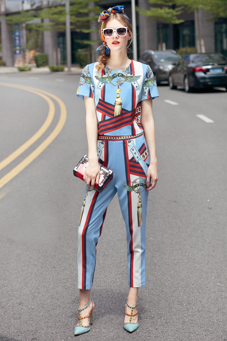 High Quality 17 European Designer Runway Suit Set Women's Two Piece Printing Short Tops + Mid-Calf Pants Set Free DHL Aramex 8