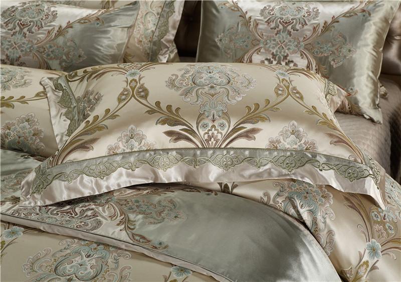 Luxury Bedding Set, Silk Satin Jacquard Bedding Set, Queen, King, Duvet Cover,Bed Linen Flat Sheet Set 21