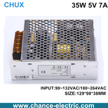 Direct Selling switching Power Supply 35W 5v 7A input 110 or 220v transformer for cnc led light(s-35w-5v)(China)