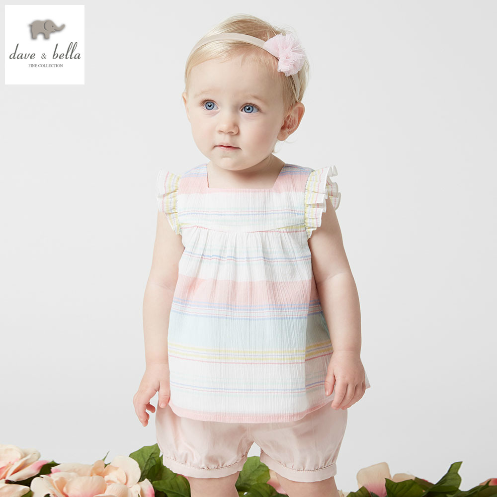 DB5019 dave bella summer baby girls fashion clothing sets kids stylish clothing sets toddle cloth kids sets baby fancy clothes<br>