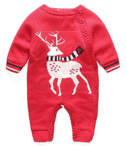 fashion autumn and winter Baby knitted romper thickening plus velvet newborn berber fleece romper<br>