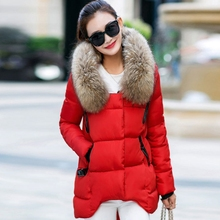 Women Winter Jacket Hooded 2017  Large Hair Collar Asymmetrical Thick Warm Parka Ladies Jaqueta Feminina Inverno W014