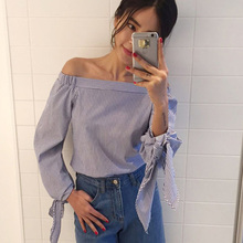 Blue Striped Bow Cuff Casual Blouse 2017 Summer Sexy Off The Shoulder Shirts Women's Three Quarter Sleeve Tops New Arrival