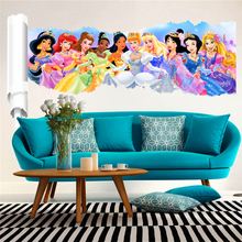 3d effect animation princess wall stickers for kids rooms decor cartoon wall decals art pvc adesivo de parede diy posters gift
