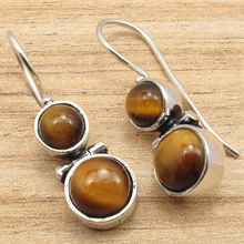 Brown TIGER'S EYE Hinge Earrings !  Silver Plated Fashion ART Jewellery 3.0 cm