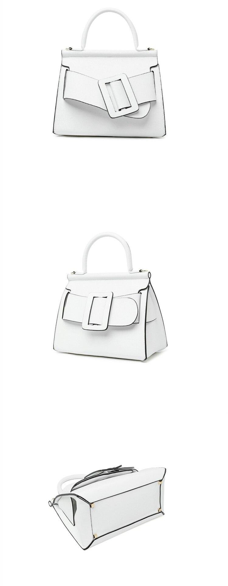 Famous Brand Designer Handbag Genuine Leather Women Vintage Bark Grain Big Buckle Handle bags with strap belt Boyy (11)_