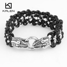 KALEN Fashion Jewelry 316 Stainless Steel Dragon Head Charm Bracelets Punk Leather Rope Bracelets From China Supplier Factory(China)