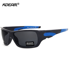 KDEAM Wraparound Outdoor Sunglasses Polarized High Quality Plastic Sport Glasses With HD Polarised Lens and Designer Box CE(China)