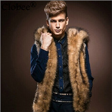 2018 Faux fur Coats Winter Sleeveless Hooded Design Thick Warm Men's Faux Fur Vest Winter High Street Fur Coat 6XL 5XL V620(China)