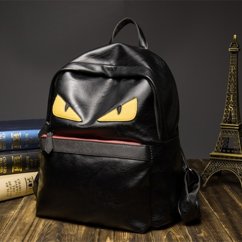 Women Famous Design Brand Demon Eyes Monster Backpacks Fashion Leather Schoolbag for Teenagers Girls Institute Style Backs Packs<br>