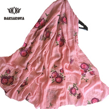 [DARIAROVA] 95*170 Big Size Cotton Scarf Embroidered for Women Spring Autumn Warm Floral Embroidery Viscose scarves Shawl Wrap