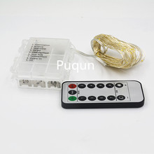 8 Display Model Timer 10M 33ft 100 Led Christmas Fairy Lights Silver Wire Starry String Light luces Powered by 3X AA Battery