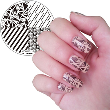 YZWLE 1pc Stamping Plate Shell Negative Space Design Nail Template YZWLE Nail Stamping Plates Nails Stencil Tools