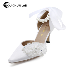 Women Pumps Wedding Shoes ankle strap shoes satin 1507 flower Shoes