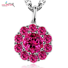 COLORFISH Luxury 2 ct Round Red Gem Stone Flower Pendant For Women Jewelry Genuine 925 Sterling Silver Wedding Bridal Pendant(China)