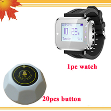 1 watch receiver 20 call button waiter call system number restaurant table call system Wireless wrist watch service call system(China)