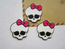 30pcs/lot Wholesale Planar Resin Monster Skull for Hair Bow Center Crafts Making, DIY (34*35mm), Free Shipping(China)