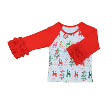 New Additions Christmas Kids Clothes O-neck Baby Girls Icing Ruffle Sleeves Shirts Girls Casual Tops Spring/Autumn Girls T-shirt