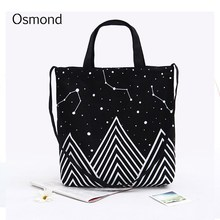 Osmond 2017 Beach Starry Sky Stars Bag Women Canvas Tote Bags Flowers Printed Shoulder Casual Handbag Shopping Large Reusable
